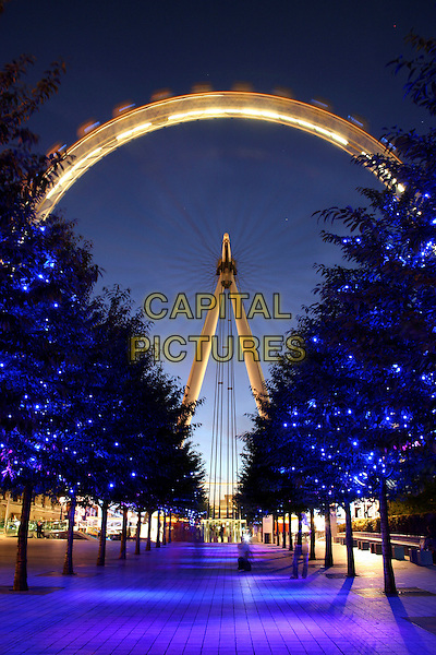 LONDON EYE.London sights.landmark gv g.v. general view walkway path trees lights .CAP/JOZ.©JOZ/Capital Pictures.