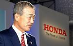 TOKYO - OCTOBER 16: Honda Motor President Takeo Fukui unveiled new models of its minivan Odyssey for the Japanese market. (Photo by Taro Fujimoto/JapanToday/Nippon News)