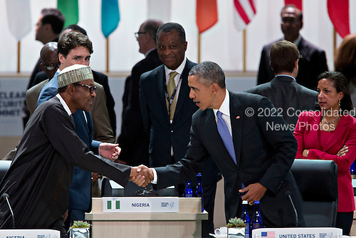 United States President Barack Obama, right, shakes hands with Muhammadu Buhari, Nigeria's president, during a closing session at the Nuclear Security Summit in Washington, D.C., U.S., on Friday, April 1, 2016. After a spate of terrorist attacks from Europe to Africa, Obama is rallying international support during the summit for an effort to keep Islamic State and similar groups from obtaining nuclear material and other weapons of mass destruction. <br /> Credit: Andrew Harrer / Pool via CNP