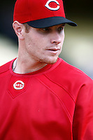 Josh Hamilton of the Cincinnati Reds during batting practice before a game against the Los Angeles Dodgers in a 2007 MLB season game at Dodger Stadium in Los Angeles, California. (Larry Goren/Four Seam Images)