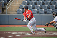 Batavia Muckdogs Dustin Skelton (6) bats during a NY-Penn League game against the West Virginia Black Bears on August 29, 2019 at Monongalia County Ballpark in Morgantown, New York.  West Virginia defeated Batavia 5-4 in ten innings.  (Mike Janes/Four Seam Images)