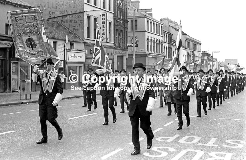 Bowler- hatted Orangemen marching on Shankill Road during their annual Twelfth celebration in Belfast, N Ireland, UK, 12th July 1972. 197207120422f<br />