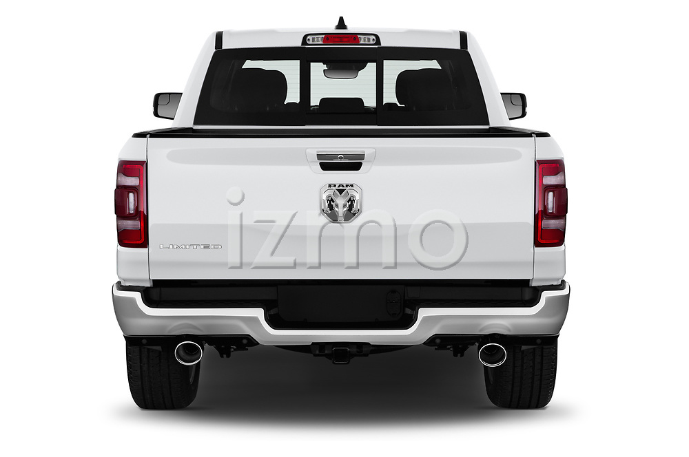 Straight rear view of a 2019 Ram Ram 1500 Pickup Limited Crew Cab 4 Door Pick Up stock images