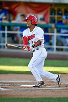 Jahmai Jones (15) of the Orem Owlz at bat against the Ogden Raptors in Pioneer League action at Home of the Owlz on June 25, 2016 in Orem, Utah. Orem defeated Ogden 4-1.  (Stephen Smith/Four Seam Images)