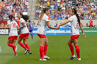 Bridgeview, IL - Saturday July 22, 2017: Christen Press, Sofia Huerta, Jennifer Hoy during a regular season National Women's Soccer League (NWSL) match between the Chicago Red Stars and the Orlando Pride at Toyota Park. The Red Stars won 2-1.