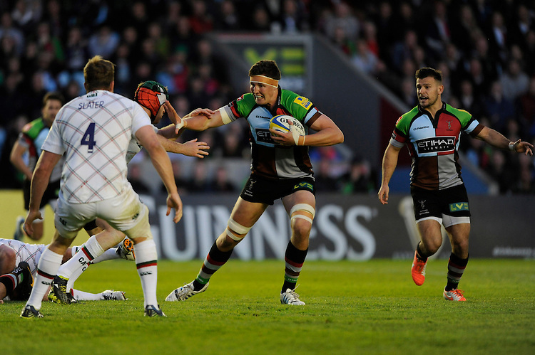 Charlie Matthews of Harlequins in action during the Aviva Premiership match between Harlequins and Leicester Tigers at the Twickenham Stoop on Friday 18th April 2014 (Photo by Rob Munro)