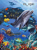 Interlitho, Lorenzo, REALISTIC ANIMALS, paintings, dolphin, fish(KL4031,#A#) realistische Tiere, realista, illustrations, pinturas ,puzzles