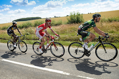 09.07.2015 Le Havre, France.  VAN BILSEN Kenneth of Cofidis, Solutions Credits, TEKLEHAIMANOT Daniel of MTN - Qhubeka and QUEMENEUR Perrig of Team Europcar are the escape pack during stage 6 of the 102nd edition of the Tour de France 2015 with start in Abbeville and finish in Le Havre, France (191 kms)