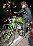 ..April 18th 2012..Steven Tyler arriving on his green three wheel  motorcycle wearing super tight jeans at the sunset marque in Los Angeles ...www.AbilityFilms.com.805-427-3519.AbilityFilms@yahoo.com...