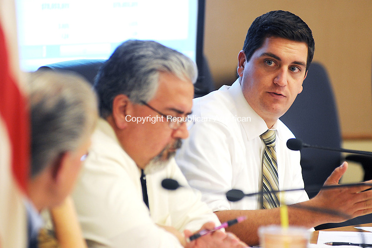 TORRINGTON,  CT, 17 MAY 2012-051712JS02-Torrington Mayor Ryan J. Bingham discusses the town budget with members of the Board of Finance during a meeting Thursday at Torrington City Hall. .Jim Shannon Republican-American
