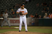 Fresno Grizzlies relief pitcher Matt Ramsey (28) prepares to deliver a pitch during a Pacific Coast League game against the Salt Lake Bees at Chukchansi Park on May 14, 2018 in Fresno, California. Fresno defeated Salt Lake 4-3. (Zachary Lucy/Four Seam Images)
