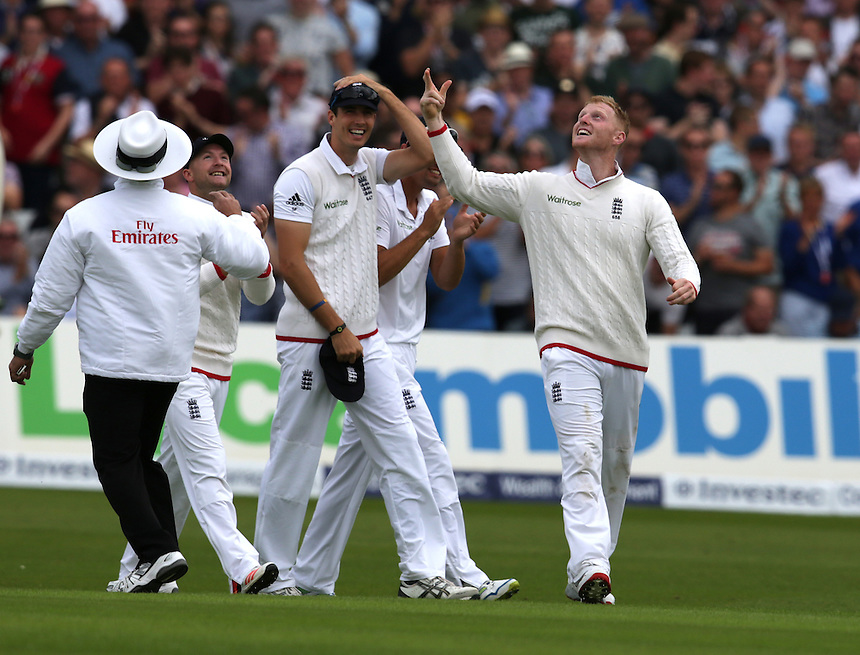 England's Ben Stokes celebrates taking the wicket of Australia's Adam Voges - AC Voges	c Stokes b Broad  1<br /> <br /> Photographer Stephen White/CameraSport<br /> <br /> International Cricket - Investec Ashes Test Series 2015 - Fourth Test - England v Australia - Day 1 - Thursday 6th August 2015 - Trent Bridge - Nottingham <br /> <br /> &copy; CameraSport - 43 Linden Ave. Countesthorpe. Leicester. England. LE8 5PG - Tel: +44 (0) 116 277 4147 - admin@camerasport.com - www.camerasport.com