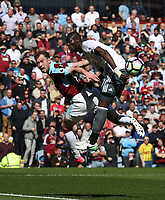 Burnley's Ashley Barnes and Manchester United's Eric Bailly<br /> <br /> Photographer Rachel Holborn/CameraSport<br /> <br /> The Premier League - Burnley v Manchester United - Sunday 23rd April 2017 - Turf Moor - Burnley<br /> <br /> World Copyright &copy; 2017 CameraSport. All rights reserved. 43 Linden Ave. Countesthorpe. Leicester. England. LE8 5PG - Tel: +44 (0) 116 277 4147 - admin@camerasport.com - www.camerasport.com