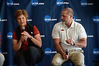 NWA Democrat-Gazette/ANDY SHUPE<br /> Shauna Taylor (center), Arkansas women's golf coach, speaks Tuesday, April 9, 2019, alongside Brad McMakin, Arkansas men's golf coach, during a press conference to announce the details of the NCAA Men's and Women's Golf Nation Championship at Blessings Golf Club in Johnson.