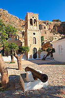 Monemvasia (  ), main square of the lower town with the bell tower of the Byzantine IGreek Orthodox Church of Christ Elkomenos.  Peloponnese, Greece