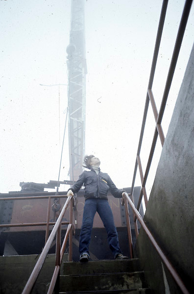 Philippe Petit in wind storm on South Tower of WTC.