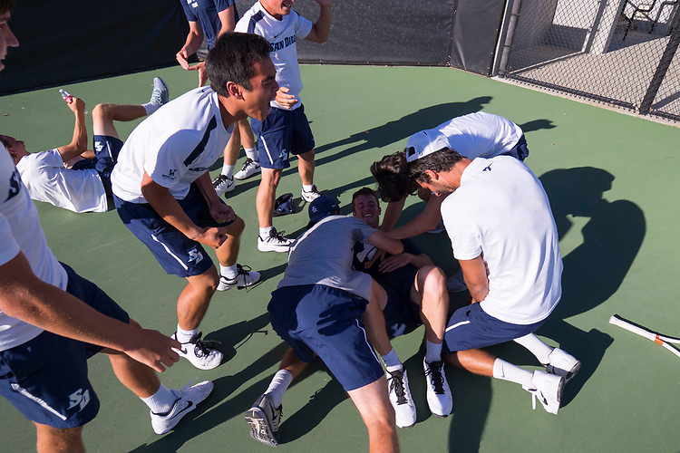 April 29, 2017; Claremont, CA, USA; San Diego Toreros players during the WCC Tennis Championships at Biszantz Family Tennis Center.