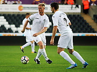 (L-R) Alan Tate and Sam Ricketts of Swansea Legends during the Alan Tate Testimonial Match, Swansea City Legends v Manchester United Legends at the Liberty Stadium, Swansea, Wales, UK