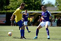 UITHUIZEN - Voertbal, RWE Eemsmond - FC Groningen, voorbereiding seizoen 2018--2019, 30-06-2018,  FC Groningen speler Samir Memisevic met Nico de Vries