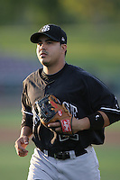 Jose Flores of the San Jose Giants during game against the Inland Empire 66'ers at Arrowhead Credit Union Park in San Bernardino,California on August 1, 2010. Photo by Larry Goren/Four Seam Images