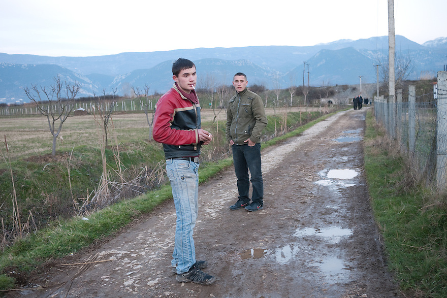 TIRANA, ALBANIA--January 29, 2011--Young men in an agricultural village where a family is in hiding following a double murder and resulting blood feud. .PHOTO BY JODI HILTON