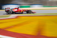 March 14, 2014: Kimi Raikkonen (FIN) from the Scuderia Ferrari team rounds turn three during practice session one at the 2014 Australian Formula One Grand Prix at Albert Park, Melbourne, Australia. Photo Sydney Low.