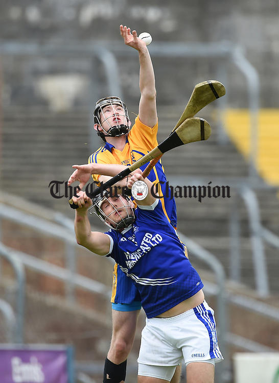 Alan Mulready of Sixmilebridge in action against Michael Hawes of Cratloe during their game in Cusack Park. Photograph by John Kelly.
