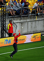 England's Sam Billings catches Mark Chapman during the International Twenty20 cricket match between the NZ Black Caps and England at Westpac Stadium in Wellington, New Zealand on Tuesday, 13 February 2018. Photo: Dave Lintott / lintottphoto.co.nz
