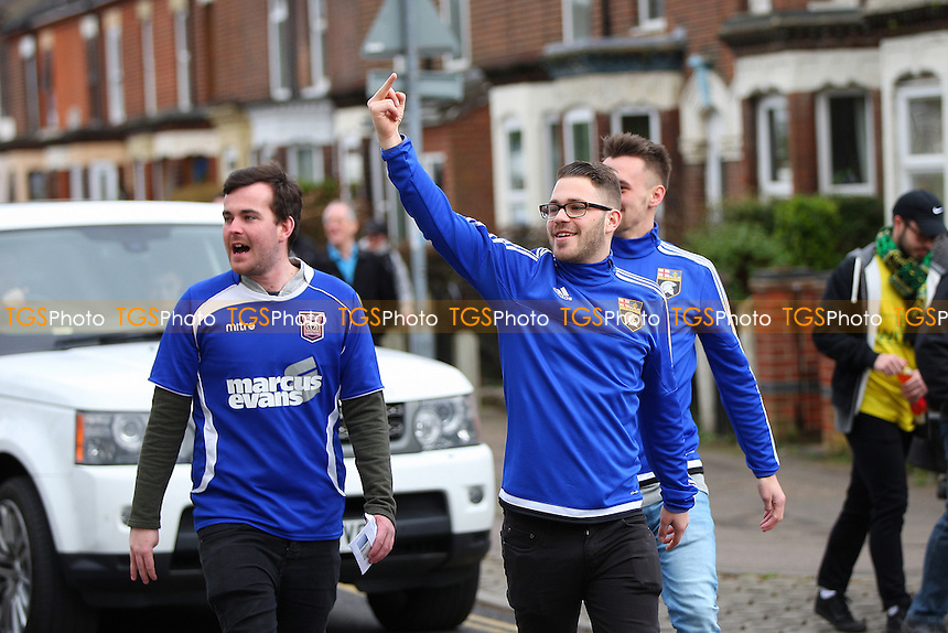 Ipswich fans on the way to the ground during Norwich City vs Ipswich Town, Sky Bet EFL Championship Football at Carrow Road on 26th February 2017