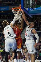 Real Madrid´s Andres Nocioni and Gustavo Ayon and Galatasaray´s Carter during 2014-15 Euroleague Basketball match between Real Madrid and Galatasaray at Palacio de los Deportes stadium in Madrid, Spain. January 08, 2015. (ALTERPHOTOS/Luis Fernandez) /NortePhoto /NortePhoto.com