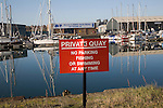 Sign Private Quay no parking, fishing or swimming at any time, Wet Dock, Ipswich