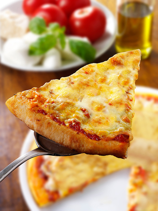 Pizza topped with  3 cheeses. A Margarita Neopolitan Pizza photos. Funky Stock pizzas photos