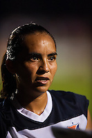 Sky Blue FC forward Monica Ocampo (8) is interviewed after the match. Sky Blue FC and FC Kansas City played to a 2-2 tie during a National Women's Soccer League (NWSL) match at Yurcak Field in Piscataway, NJ, on June 26, 2013.