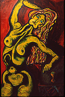"Girl by Wine. Acrylic on Board. 32"" X 48"". 1989."