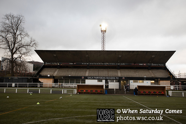 Gala Fairydean Rovers 4, Gretna 1, 25/01/2020. Netherdale, Scottish Lowland League. The main stand pictured before Gala Fairydean Rovers host Gretna 2008 in a Scottish Lowland League match at Netherdale, Galashiels. The home club were established in 2013 through a merger of Gala Fairydean, one of Scotland's most successful non-League clubs, and local amateur club Gala Rovers. The visitors were a 'phoenix' club set up in the wake of the collapse of the original club, which had competed for a short time in the 2000s before going bankrupt. The home aside won this encounter 4-1 watched by a crowd of 120. Photo by Colin McPherson.