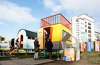 Nederland  Eindhoven 2017 . DDW. Dutch Design Week. Strijp-S. HiHaHut. Zelfvoorzienende luxe trekkershutten, geplaatst op bijzondere locaties.   Foto Berlinda van Dam / Hollandse Hoogte
