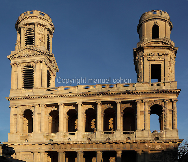 Eglise Saint-Sulpice (St Sulpitius' Church), detail of towers and upper tier of two storey colonnade of superimposed Doric and Ionic columns, c.1646-1745, late Baroque church on the Left Bank, Paris, France. Church completed 1714-45 by Gilles-Marie Oppenord; West front, 1766, by Giovanni Servandoni; North tower, 1778-80, by Jean Chalgrin. Picture by Manuel Cohen