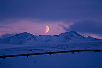 Moonrise over the Philip Smith Mountains, Brooks Range, trans Alaska pipeline, Alaska