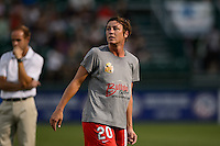 Western New York Flash forward Abby Wambach (20) during warmups prior to playing the Portland Thorns during the National Women's Soccer League (NWSL) finals at Sahlen's Stadium in Rochester, NY, on August 31, 2013.