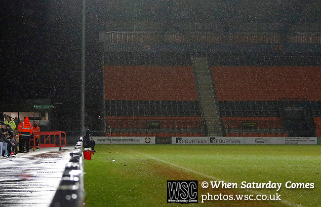 Barnet 2 Morecambe 0, 16/12/2017. The Hive, League Two. A ballboy gets wets. Photo by Paul Thompson.
