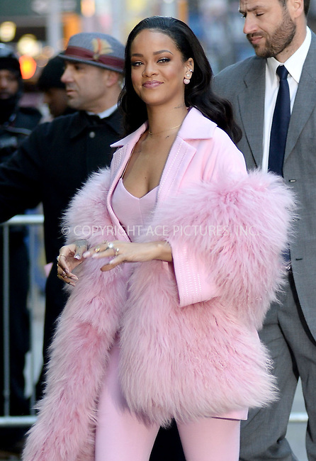 WWW.ACEPIXS.COM<br /> March 13, 2015 New York City<br /> <br /> Rihanna arriving to Good Morning America on March 13, 2015 in New York City.<br /> <br /> Please byline: Kristin Callahan/AcePictures<br /> <br /> ACEPIXS.COM<br /> <br /> Tel: 646 769 0430<br /> e-mail: info@acepixs.com<br /> web: http://www.acepixs.com