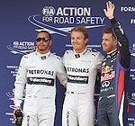 11.05.2013 Barcelona, Spain. Formula 1 Qualifying Session. Picture show LewisHamilton (L) ,  Nico Rosberg (C) and Sebastian Vetel (R) after finish Q3 at circuit de Catalunya