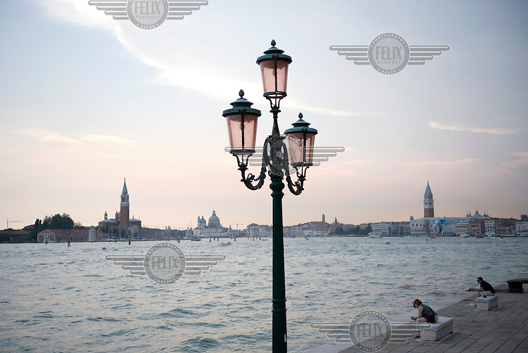 A view towards St. Mark's Campanile (right) and San Giorgio Maggiore church (left) in Venice.