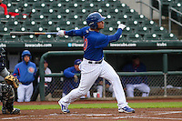 Iowa Cubs catcher Willson Contreras (40) swings during a Pacific Coast League game against the Colorado Springs Sky Sox on May 1st, 2016 at Principal Park in Des Moines, Iowa.  Colorado Springs defeated Iowa 4-3. (Brad Krause/Four Seam Images)
