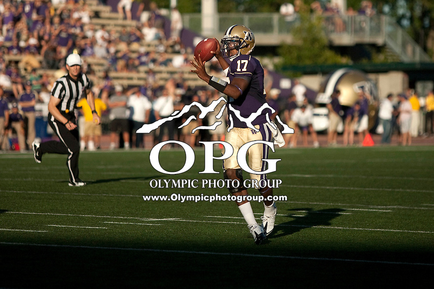 Sept 3, 2011:  Washington quarterback #17 Keith Price looks down field for an open receiver against Eastern Washington.  Washington defeated Eastern Washington 30-27 at Husky Stadium in Seattle, Washington...