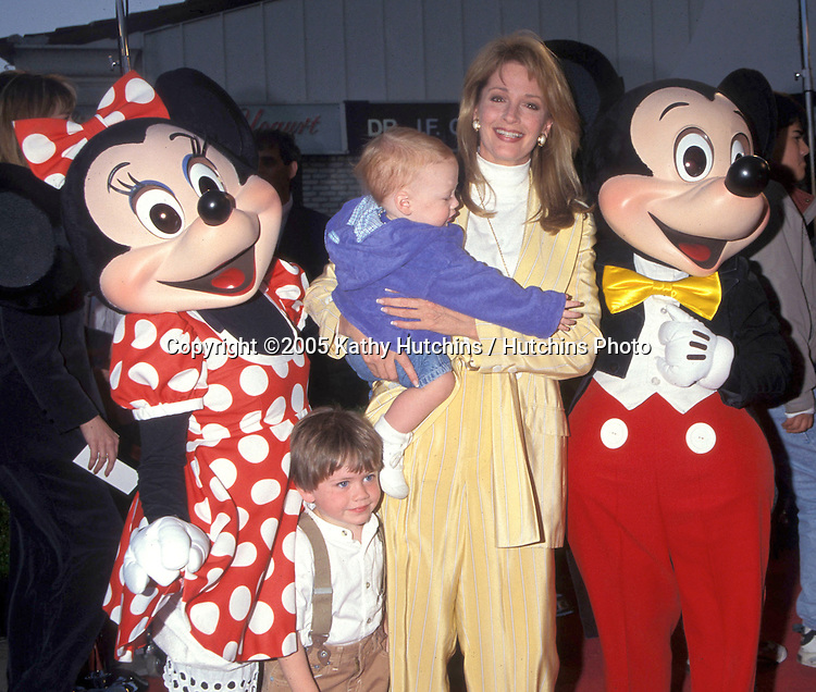 Deidre Hall, Mickey and Minnie Mouse.with Deidre's sons David and Tully Sohmer.The Aristocats permiere.Los Angeles, CA.April 18, 1996.©2005 Kathy Hutchins / Hutchins Photo...