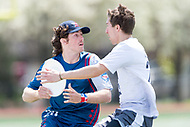 """Washington, DC - APR 22, 2018: DC Breeze Matthew McDonnell (28) is guarded by Ottawa Outlaws Alec Arsenault (22) during AUDL game between DC Breeze and the Ottawa Outlaws. The DC Breeze get the win 26-19 over Ottawa in the Battle of the Capitals"""" at Catholic University Washington, DC. (Photo by Phil Peters/Media Images International)"""