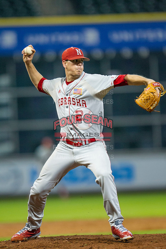 Nebraska Cornhuskers pitcher Derek Burkamper (2) makes a pickoff throw to first base during the Houston College Classic against the LSU Tigers on March 8, 2015 at Minute Maid Park in Houston, Texas. LSU defeated Nebraska 4-2. (Andrew Woolley/Four Seam Images)