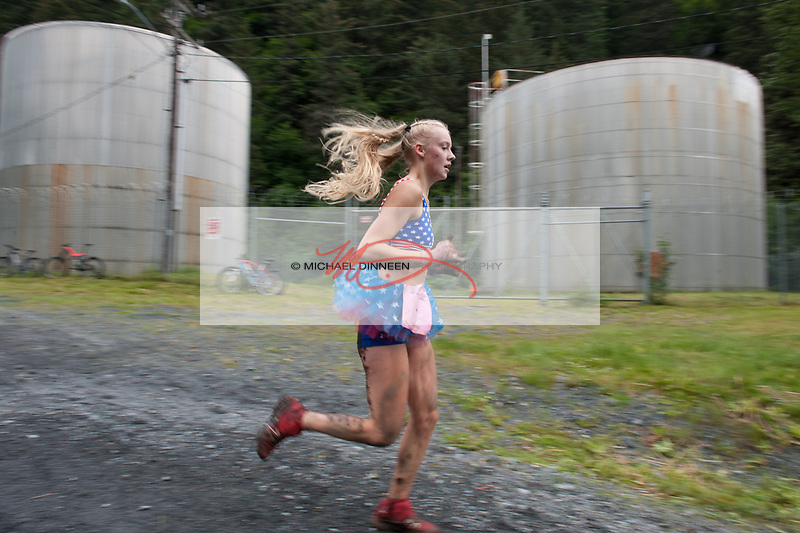Chugiak's Adrianna Proffitt races toward the finish line.  Photo for the Star by Michael Dinneen