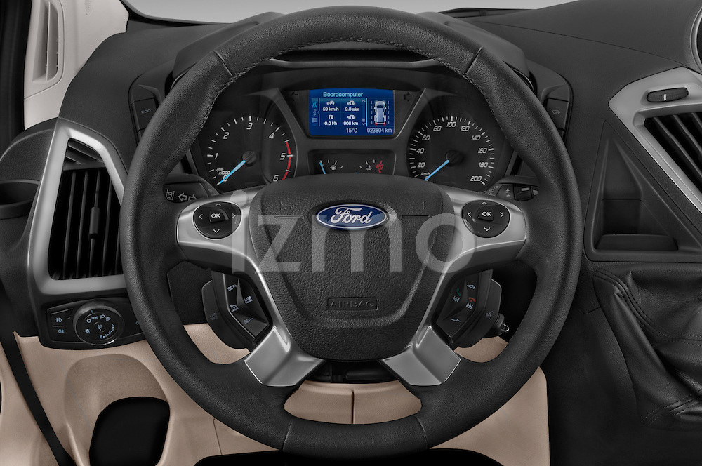 Car pictures of steering wheel view of a 2013 Ford TOURNEO CUSTOM TITANIUM 5 Door Combi Steering Wheel